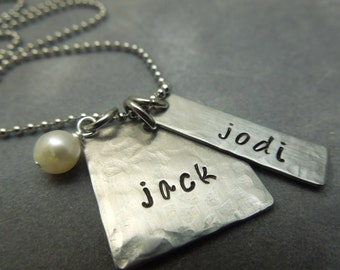 Personalized mothers necklace, hand stamped stainless steel