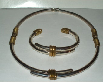 Sterling Silver Taxco Choker and Bracelet Set