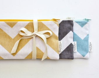 Chevron Zipper Pouch, Cotton Canvas Pouch, Pencil Pouch, Pencil Case, College, Kids, School Supplies, Teens, Women, Organize