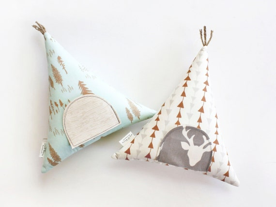 Teepee Tooth Fairy Pillow Modern Woodland Room Decor Girls