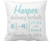 "Custom Throw Pillow - Baby Name and Birth Stats - Chevron Personalized Baby Pillow- 16"" X 16"""