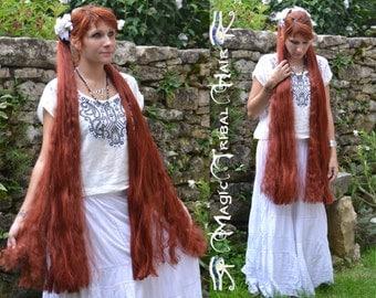 HAIR FALLS 2x Cosplay Fantasy extension 39''/100 cm C U S T O M color Renaissance wig Larp hair piece Tribal Fusion braids Steampunk hair