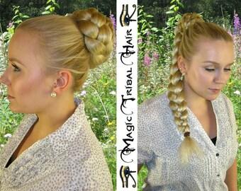 BRAID hair bun CHIGNON 20''/50 cm long CUSTOM hair piece Wedding Bride wiglet updo hair accessory Braided hair fall Synthetic hair extension
