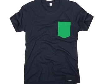 Green Pocket T-shirt - Organic Cotton Mens T-shirt