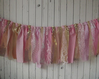 SALE Pink, Gold & Lace RTS Fabric Rag Tie Garland, Birthday, Photo Prop, Backdrop , Rag Banner