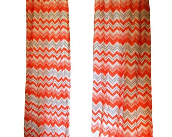 CLEARANCE Chevron Curtains- Pair of Drapery Panels- Premier Prints Chili Pepper Orange Zazzle Curtains- 50W x 96L inch Zig Zag Drapes