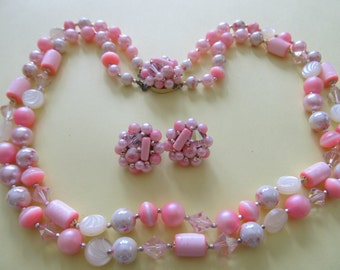 Vintage Japan Pink Art Glass Double Strand Necklace and Pink Cluster Earrings