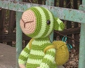 "Crochet Pattern - ""Stripey"" Cute Amigurumi Monster with a Backpack and a Pear"