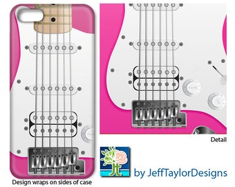 Pink Electric Guitar Phone Case for IPhone 5/5s, iPhone 6, iPhone 7, Galaxy s4 & s5