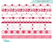Valentine Heart Borders Digital Clipart