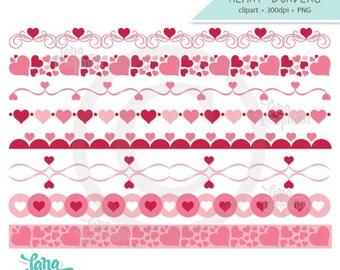 Valentine Heart Borders Digital Clipart