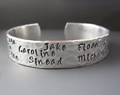 Custom Silver GrandMother's / Mother's Cuff Bracelet / Children's Names / Personalized Hand Stamped / Gifts for Mom / Anniversary