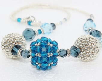 Silver and Blue Beaded Bead Necklace
