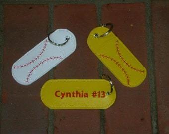 Baseball or Softball Keyring Chapstick or Flashdrive Holder Sports Personalized Gift