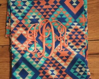 Tribal Print Infinity Monogrammed Scarf