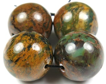 African Green Opal Round Bead - 14mm - 4 Pieces - B2242