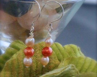 Red and Pink Freshwater Pearl Earrings