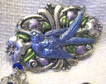 Blue Bird Necklace in Silver Ox, Hand Painted Statement Necklace., Silver Necklace, Bird Necklace, Handmade Necklace