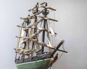 Whaling ship model, Wooden Model ship, 1846 clipper with sails