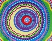 """Dotilism Funky Mandala Original Acrylic Painting  8"""" x 8"""" #003"""