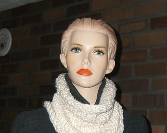 Ivory Cotton Cowl Neckwarmer Scarf Upcycled Materials Hand made by me stockinette stitch gift for him or her