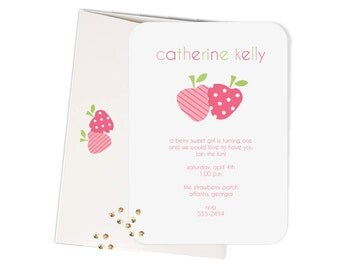 Pink and Green Strawberry Invitations, Set of 12 includes matching envelopes