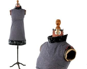Vintage 1960's Dark Charcoal Mini Mod Faux Fur Trim Empire Waist Dress S SALE