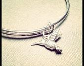 Silver Bangle with Hummingbird Charm