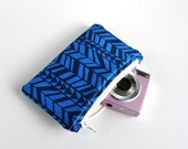 Woman's protective gadget iphone padded camera make up cosmetics pouch aztec triangle arrow print in navy blue.