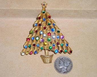 Vintage Multi Colored Rhinestone Christmas Tree Brooch 1960's Jewelry 2009