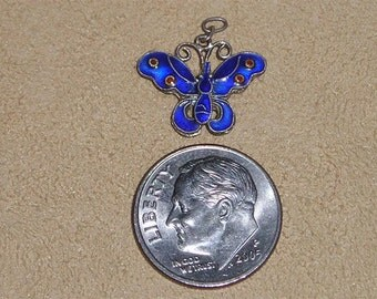 Vintage Guilloche Charm Or Pendant Two Sided Dark Blue Butterfly 1930's Jewelry 4131