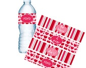 Valentine Water Bottle Labels, Valentine Napkin Rings, School Parties, Valentine Goodie Bags, Custom Bottle Labels, INSTANT DOWNLOAD (295)