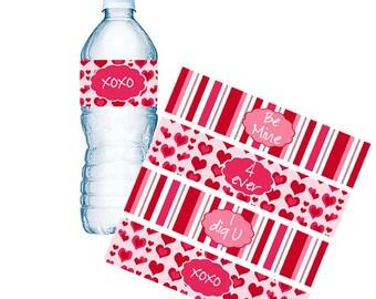INSTANT DOWNLOAD, Valentine Water Bottle Labels, Valentine Napkin Rings, School Parties, Valentine Goodie Bags, Custom Bottle Labels (295)