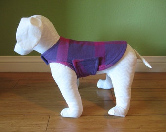 Fleece & Flannel Dog Coat, Extra Small, Purple, and Pink Buffalo Plaid Cotton Flannel with Purple Fleece Lining