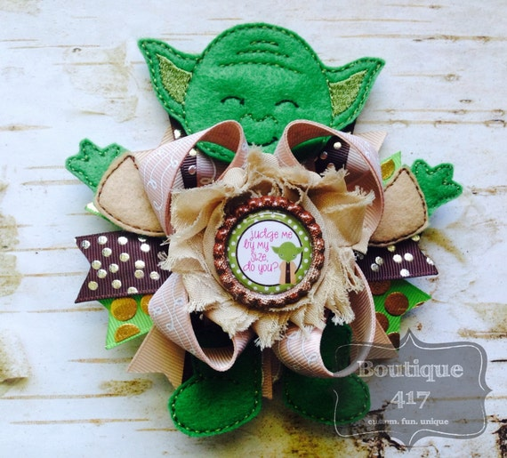 yoda star wars inspired boutique hair bow bottlecap by boutique417. Black Bedroom Furniture Sets. Home Design Ideas