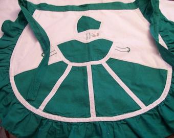 Southern Belle Apron Vintage Green Ruffled Ladies Half Apron