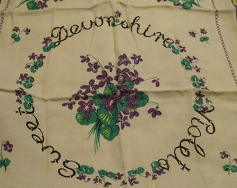 VIOLETS Decorative Towel Original Bouquet Design Made in England