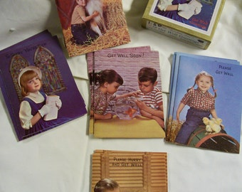 Childrens Greeting Cards 1950s Get Well Cards Original Box Photographs Unusual