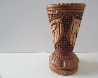 Wood Vase Hand Carved from Haiti on Pedestal 1973, Leaf, Vase, Home Decor, Bohemian, Boho