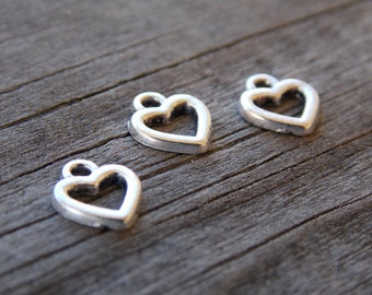 25 Tiny Silver Heart Charms 8mm