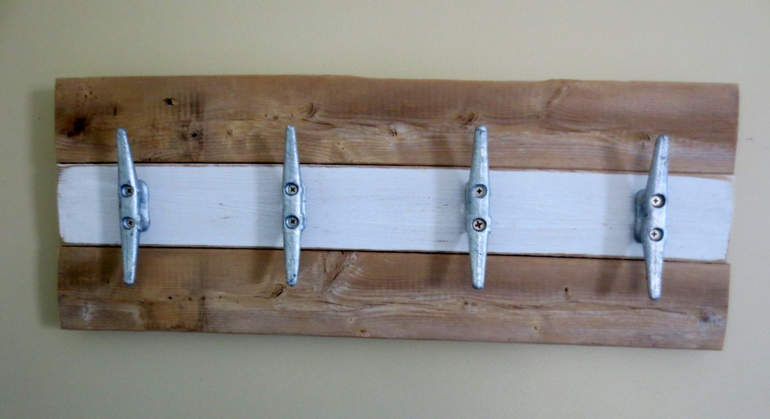 Nautical Boat Cleat Towel Rack Hooks White And Natural Wood