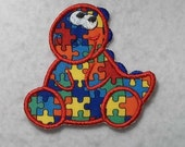 Dinosaur Autism Awareness Puzzle Piece (large) - MADE to ORDER - Choose COLOR - Tutu & Shirt Supplies - Iron on Applique Patch 6555