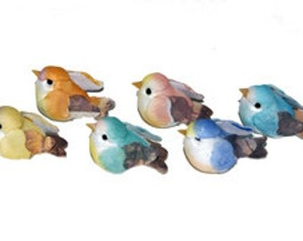 12 pc 1 1/4 Inch Pastel Craft Birds (Bella) Mini Birds for Weddings, Parties, Floral Arrangements, Decorating & Costumes