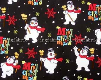 C094 - 1 meter  SDLP Cotton Fabric - Christmas snowman and snowflower (145cm width)