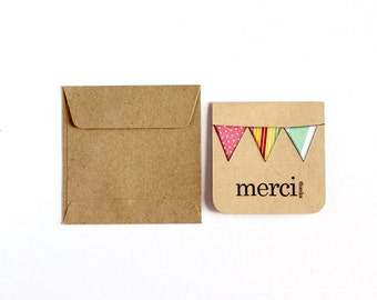 BULK 72 Thank You Cards, Merci, Assorted CHOOSE White or Kraft Bunting, Hand Stamped, 3x3 Inch Heavy Card Stock