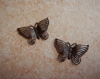 2 Antiqued Copper Plated Steel Butterfly Charms Pendants One-Sided Focal Jewelry