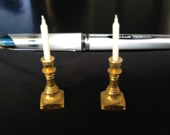 Vintage MIniature Gold candlesticks and candle set for dollhouse furniture