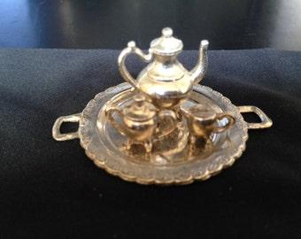 Beautiful Vintage Miniature Silver Service Dollhouse Collector Furniture
