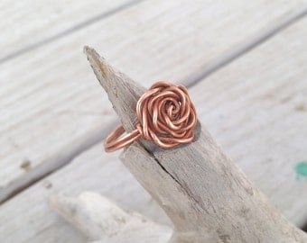 Wire Wrapped Rose Copper Ring