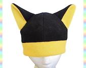 Anime Kitty Hat Black Yellow - Fleece Clothing Warm Animal Cute Kawaii Cosplay Cat Neko Ears Adult Teen Child
